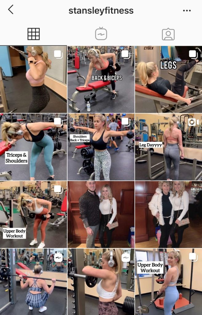 Shannon workout page instagram