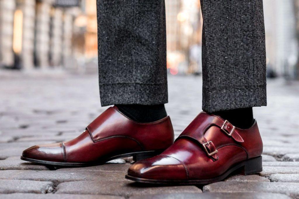 Men's Dress Shoe Paul Evans NY | The Oxblood Burton Double Monk Strap