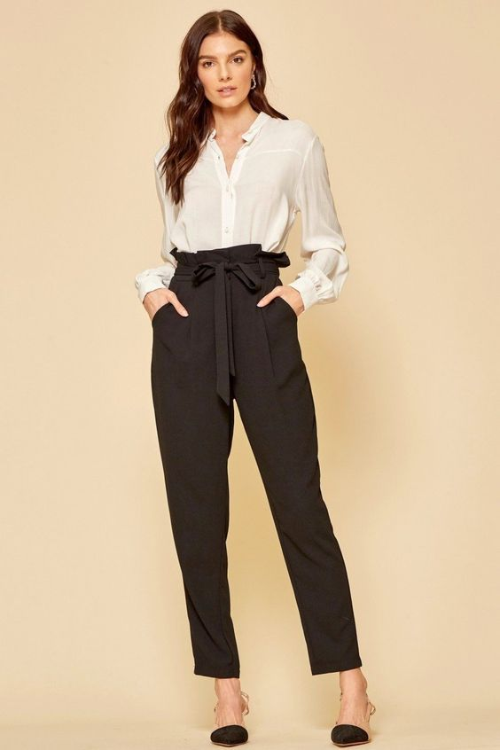 classic black paper bag pants work well as a neutral base